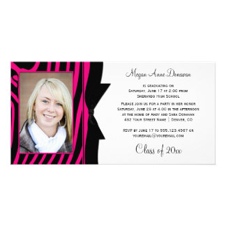 Hot Pink Black Zebra Print Photo Graduation Party Photo Card