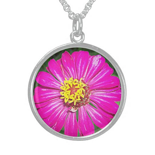 Hot Pink Blossom Round Silver Necklace
