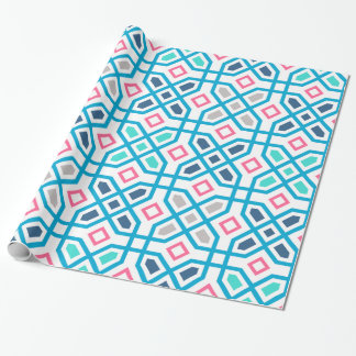 Hot pink blue and green geometric pattern
