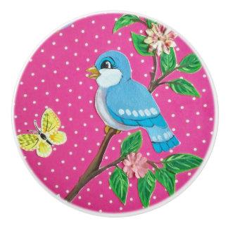 Hot Pink Blue Bird Drawer Pull Door Knob Child's