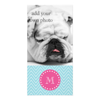 Hot Pink, Blue Chevron | Your Monogram Picture Card