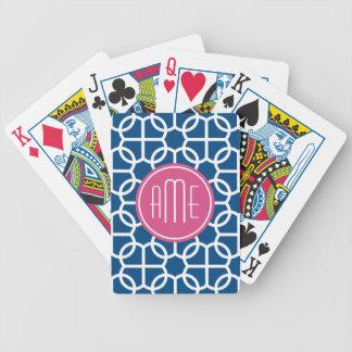 Hot Pink & Blue Geometric Pattern Monograms Bicycle Playing Cards