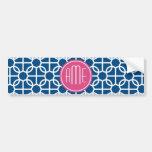 Hot Pink & Blue Geometric Pattern Monograms Bumper Sticker