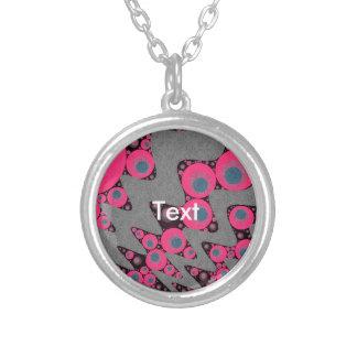 Hot Pink Blue Wavy Abstract Silver Plated Necklace