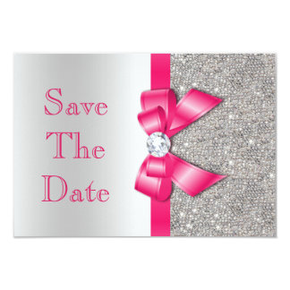Hot Pink Bow Diamonds Save The Date Baby Shower 9 Cm X 13 Cm Invitation Card