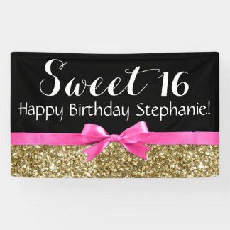 Hot Pink Bow Gold Glitter Sweet 16 Birthday Party