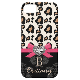 Hot Pink Bow Heart Shaped Faux Bling Leopard iPhone 5 Case
