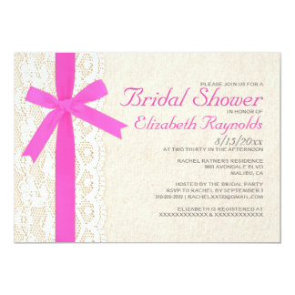 Hot Pink Bow & Lace Bridal Shower Invitations