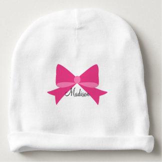 Hot Pink Bow Monogram Baby Beanie