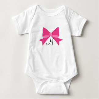 Hot Pink Bow Monogram Baby Bodysuit