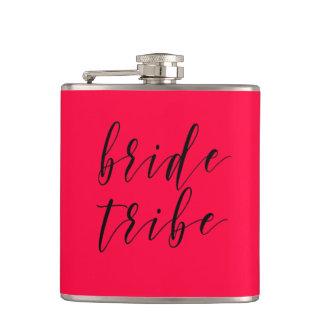 Hot Pink Bride Tribe Wedding Vinyl Flask