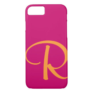 Hot Pink Bright Orange Monogram iPhone 8/7 Case