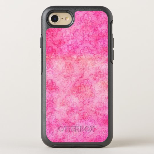 Hot Pink Bright Watercolor Damask OtterBox Symmetry iPhone 8/7 Case