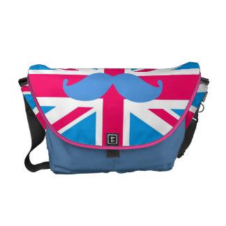 Hot Pink British Flag with mustache Messenger Bag