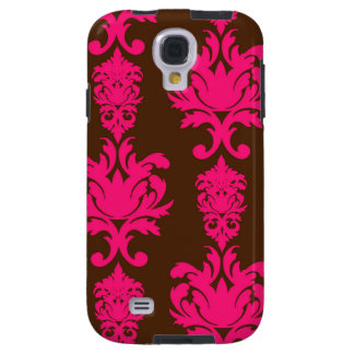 Hot pink & brown neon damask floral girly pattern galaxy s4 case
