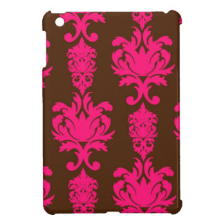 Hot pink & brown neon damask floral girly pattern cover for the iPad mini