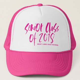 Hot Pink Brush Typography Senior Class of 2018 Hat