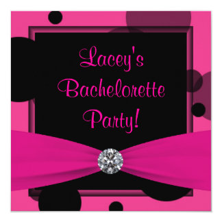 Hot Pink Bubbles Hot Pink Bachelorette Party Card