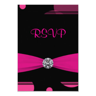Hot Pink Bubbles Quinceanera 15th Birthday RSVP Card