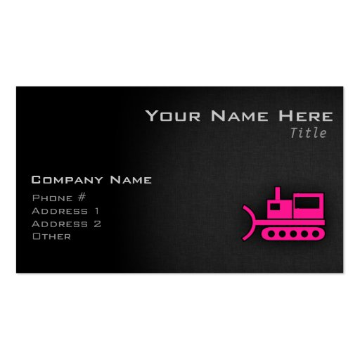Hot Pink Bulldozer Business Card Templates