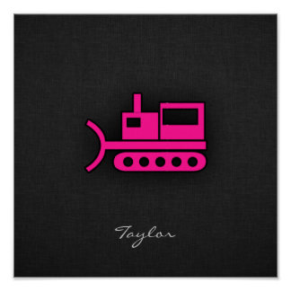 Hot Pink Bulldozer Poster