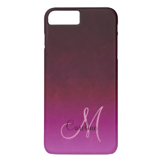 Hot Pink Burgundy Ombre Monogram iPhone 8 Plus/7 Plus Case