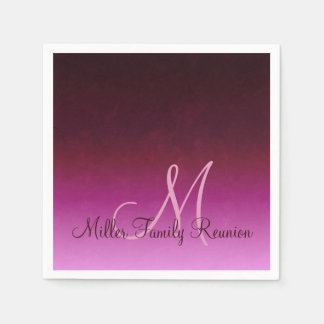 Hot Pink Burgundy Ombre Reunion Disposable Napkin