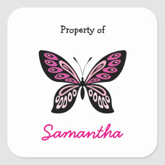 Hot pink butterfly personalized school supply square sticker