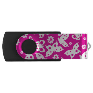 Hot Pink Butterfly Silver, 8 GB, USB Black USB Flash Drive