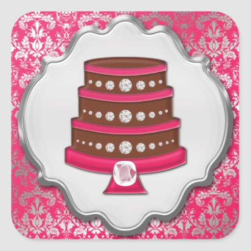 Hot Pink Cake Couture Damask Square Bakery Label Sticker