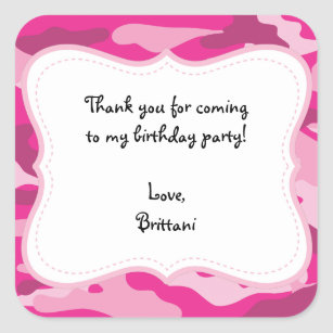 Hot Pink Camo Birthday Party Favour Label Sticker