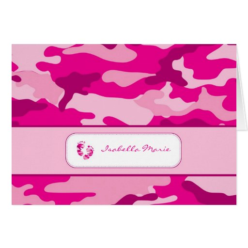 Hot Pink Camouflage Baby Shower Thank you Note Note Card