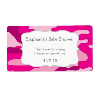 Hot Pink Camouflage Camo Water Bottle Favor