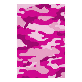 Hot Pink Camouflage Scrapbook Crafting Paper Personalized Stationery