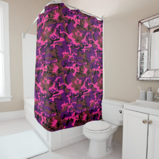 Hot Pink Camouflage Shower Curtain