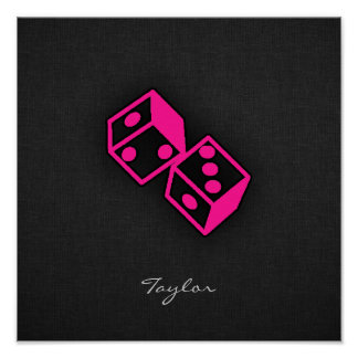 Hot Pink Casino Dice Poster
