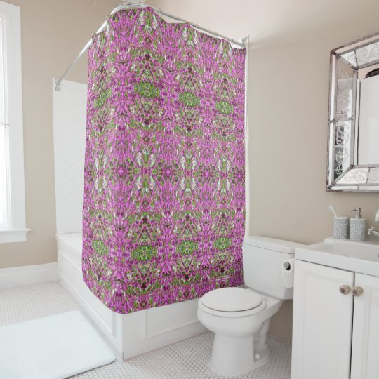 Hot Pink Catchfly Geometric 2 Shower Curtain