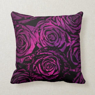 Hot Pink Celestial Floral Roses Throw Pillow