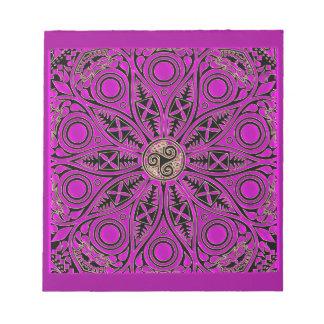 Hot Pink Celtic Triskele Mandala Notepad