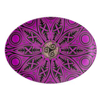 Hot Pink Celtic Triskele Mandala Porcelain Serving Platter