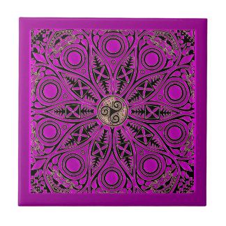 Hot Pink Celtic Triskele Mandala Small Square Tile