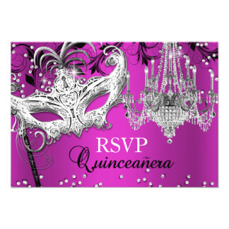 Hot Pink Chandelier Masquerade Quinceanera RSVP Personalized Invite