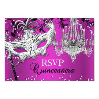 Hot Pink Chandelier Masquerade Quinceanera RSVP 9 Cm X 13 Cm Invitation Card