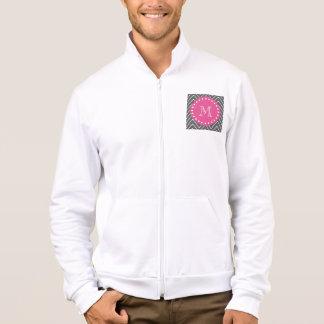 Hot Pink, Charcoal Gray Chevron   Your Monogram Jacket