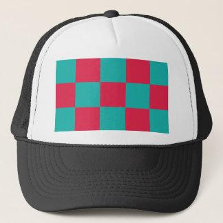 Hot Pink Checkerboard Trucker Hat