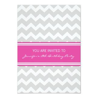 Hot Pink Chevron 18th Birthday Party Invitations