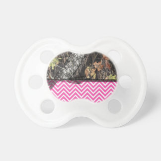 Hot Pink Chevron and Camo Pacifier W/ Black Ribbon