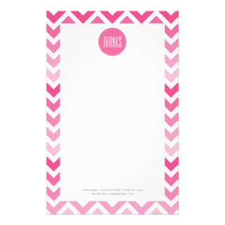 Hot Pink Chevron Ombre ZigZag Thank You Thanks Stationery