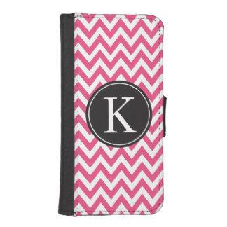 Hot Pink Chevron Stripe Pattern Custom Monogram iPhone SE/5/5s Wallet Case