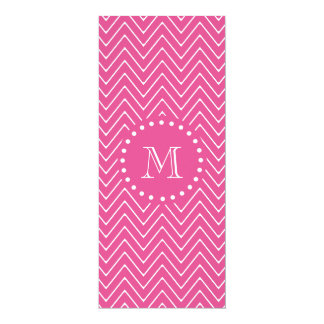 Hot Pink Chevron | Your Monogram 10 Cm X 24 Cm Invitation Card